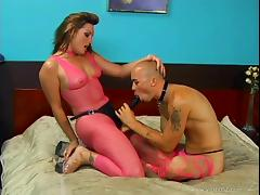 Dude wearing stockings lets busty Flower Tucci fuck his ass with a toy