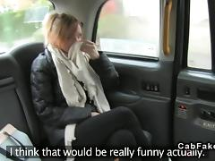 Tattoooed Brit giving rimjob and fucking in fake taxi