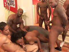 Hot group banging with naughty porn hottie Nyomi Banxxx in nasty fuck action