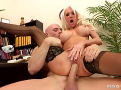 Bimbo boss is a slut at work for wicked big cock in her cunt