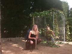 Gorgeous blonde with a hot body enjoying a hardcore gangbang in her garden