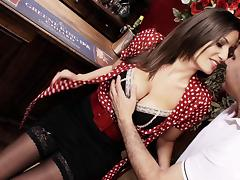 Beauty in a blouse and stockings lets the bartender fuck her