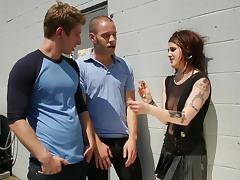 A hot punker girl treats two nerdy guys to some head and pussy