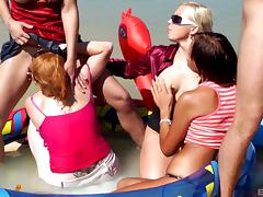 A guy meets several girls on the beach an fucks them all
