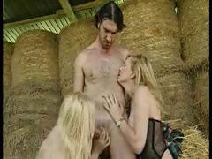 Filthy farmer gets lucky with a pair of hot blonde bitches