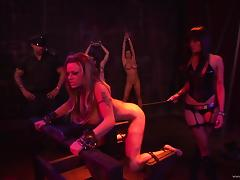 Smutty dame with big tits and long hair getting brutally spanked in BDSM sex