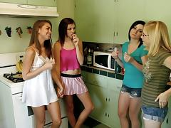 Horny sorority sisters get freaky on the bathroom floor