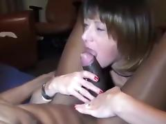Aged wife sucks on a large dark ding-dong.