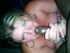 Middle aged wife sucking black dick til he cums