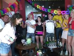 At a birthday party slutty chicks suck and fuck a male stripper
