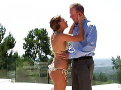 He sees the hot babysitter in a bikini and has to bang her