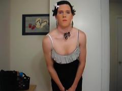 Teen crossdresser toying and fisting