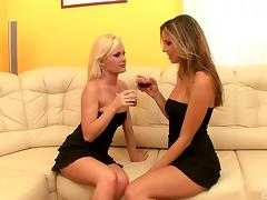 Lesbians in skimpy black dresses tongue cunts lustily