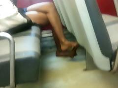 Candid Ebon Feet Legs Shoeplay Heelpopping Dangling
