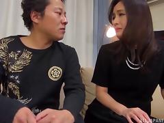 Classy Japanese housewife licked and fucked by an eager man