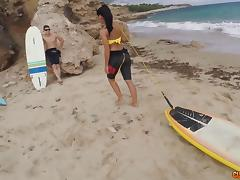 Charming Apolonia in her doggy style adventure by the sea