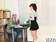 Demure chick gets her fascinating pussy ravished by teacher