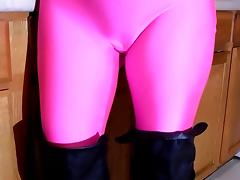 Spandex Angel - Shiny boobs pink catsuit