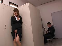 Hottie caught masturbating in the office gives him a handjob