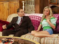 With cum on her face Bree Olson fingers her pussy in front of him