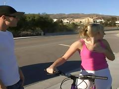 Bike riding blonde flashes some cameltoe then gets fucked