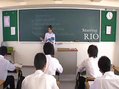 Slutty Japanese teacher getting fucked by her students