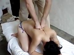 Super shy by receiving a massage topless