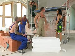 House painters pull out their cocks to gangbang Aletta Ocean
