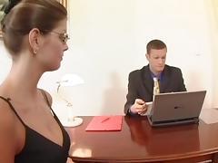Talented secretary in striped stockings fucks her boss
