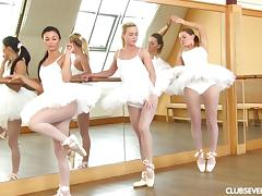 Ballerinas in white pantyhose dancing and fucking toys