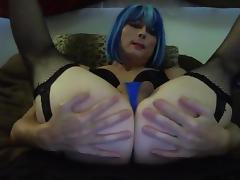 Sexy Blue Hair Tasha Dildos Ass Crossdresser