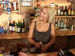 Slutty granny smashed to strong orgasm at the bar in a reality shoot