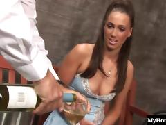 Tantalizing brunette gladly rides the dick of a real gentleman