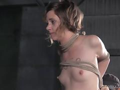 Slutty chick is caught and tied up in a pretty interesting way