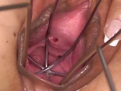 PJGIRLS Huge dildo gapes her pussy & special dildo speculum