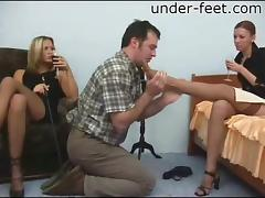 Ladies in nylons demand he worship their pretty feet