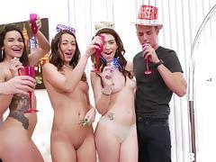Slutty babes get loads of cum after pleasing long boners