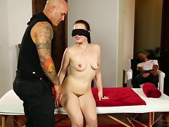 Big tattoed fellow fucks a blindfolded babe in front of her man