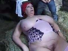 FRENCH BBW GRANNY OLGA FUCKED BY 2 MEN IN THE FARM