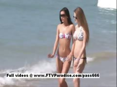 Faye and Larysa tender sexy lesbians outdoor