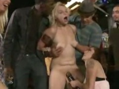 Blond gangbanged in middle of a bar