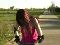 Skating euro chick at the park ends up fucking with a stranger in public