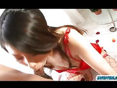 Hina Aisawa on her knees swallows a long and