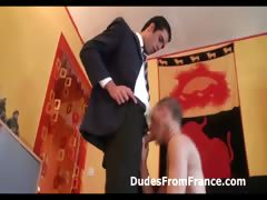 Casual gay guy sucks off French guy in suit