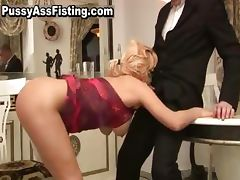 Busty slut sucking fat cock and gets part1