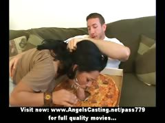 Amazing hot latina does blowjob and rides cock for pizza guy