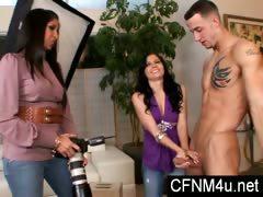 Femdom CFNM play with 2 ladies