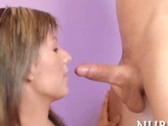 Man cums on girl's face