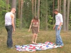 Amateur european threesome in the forest