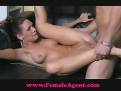 Sexy girl and hunk guy having hard sex on couch